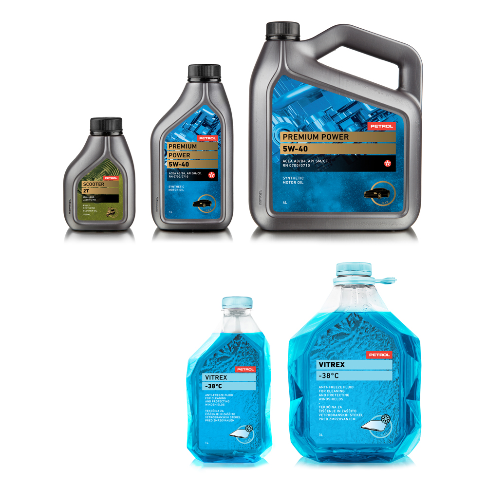 Petrol-motor oil and accesories bottles